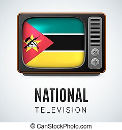 Round glossy icon of Mozambique - Vintage TV and Flag of...