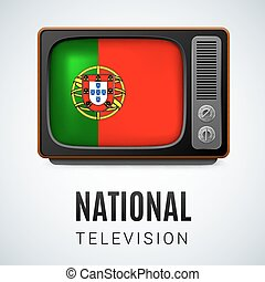 Round glossy icon of Portugal - Vintage TV and Flag of...