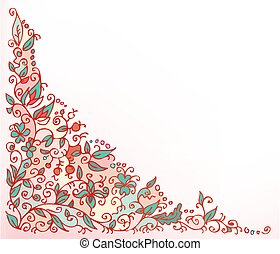 Vignette 3 InColor - Refined floral vignette. Eau-forte...