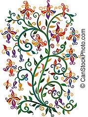 Renaissance vignette - Refined floral vignette Eau-forte...
