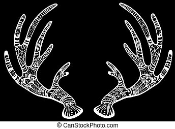 Deer antlers with native ornament on black