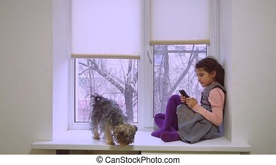 girl teen playing web online the game for smartphone and dog...