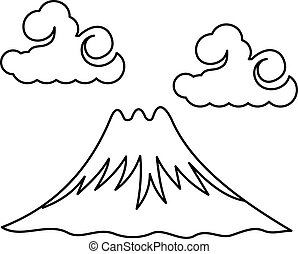 Vector illustration the sacred Mount Fuji. Traditional...