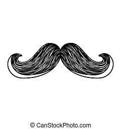 mustache silhouette isolated icon