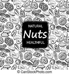 Nuts set seamless pattern.