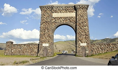 Entrance into Yellowstone National Park, Time Lapse -...
