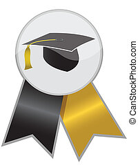 Graduation ribbon - Graduation cap ribbon isolated on white...