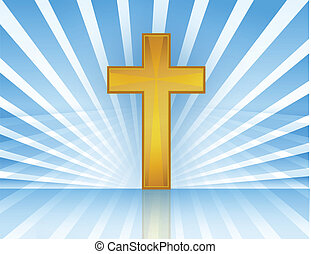 Cross In Heaven Vector - Holy Cross with rays of light...