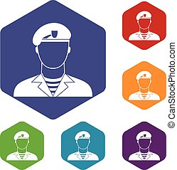Modern army soldier icons set rhombus in different colors...