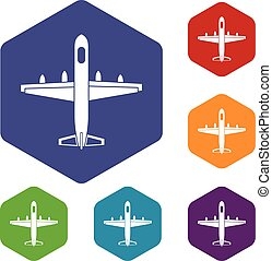 Military plane icons set rhombus in different colors...