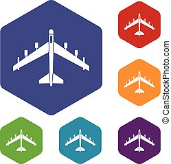 Armed fighter jet icons set rhombus in different colors...