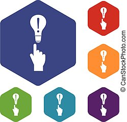 A finger pointer and light bulb icons set