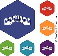 Venice bridge icons set rhombus in different colors isolated...