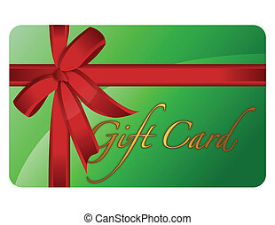 Gift Card - Green gift card with a red ribbon isolated over...