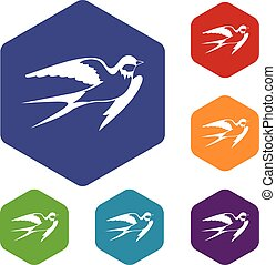 Barn swallow icons set rhombus in different colors isolated...