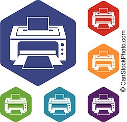 Printer icons set rhombus in different colors isolated on...