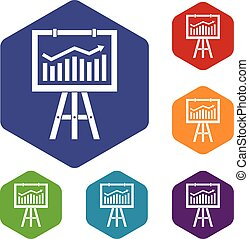 Flipchart with marketing data icons set rhombus in different...