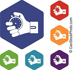 Hand holding stopwatch icons set rhombus in different colors...