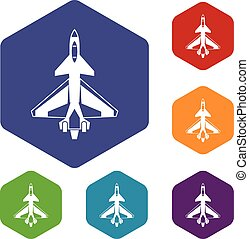 Military fighter jet icons set rhombus in different colors...