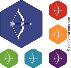Bow and arrow icons set rhombus in different colors isolated...