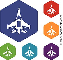 Jet fighter plane icons set rhombus in different colors...