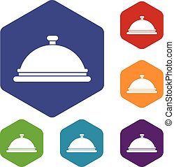 Restaurant cloche icons set rhombus in different colors...