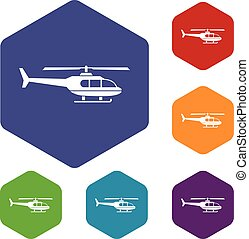 Military helicopter icons set rhombus in different colors...