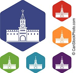 Russian kremlin icons set rhombus in different colors...