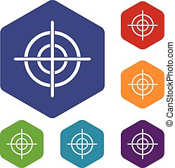 Target crosshair icons set rhombus in different colors...