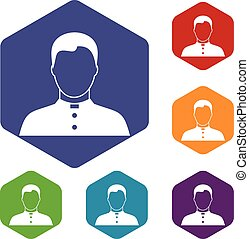 Pastor icons set rhombus in different colors isolated on...
