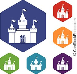 Fortress icons set rhombus in different colors isolated on...