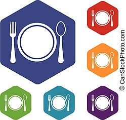Place setting with plate,spoon and fork icons set rhombus in...