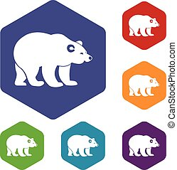 Bear icons set rhombus in different colors isolated on white...