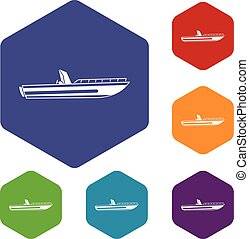 Motor speed boat icons set rhombus in different colors...