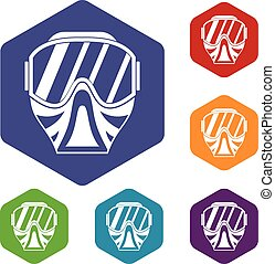 Paintball mask icons set rhombus in different colors...