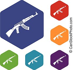 Submachine gun icons set rhombus in different colors...