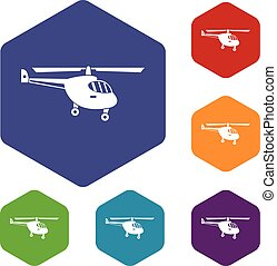 Helicopter icons set rhombus in different colors isolated on...