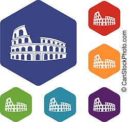 Roman Colosseum icons set rhombus in different colors...