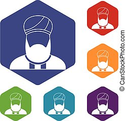 Muslim preacher icons set rhombus in different colors...