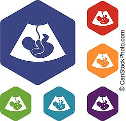 Ultrasound fetus icons set rhombus in different colors...