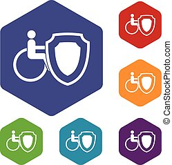 Wheelchair and safety shield icons set rhombus in different...