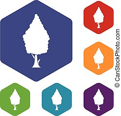 Cypress icons set rhombus in different colors isolated on...