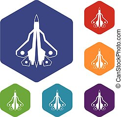 Military fighter plane icons set rhombus in different colors...