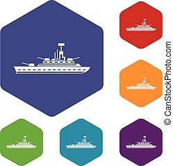 Military warship icons set rhombus in different colors...
