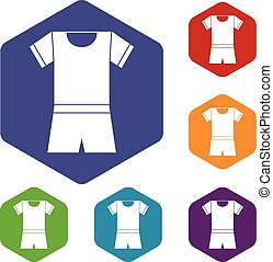 Sport shirt and shorts icons set rhombus in different colors...