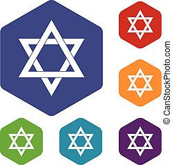 Star of David icons set rhombus in different colors isolated...