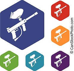 Paintball marker icons set rhombus in different colors...