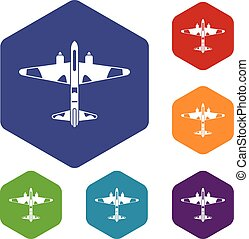 Military fighter aircraft icons set rhombus in different...