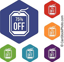 Sale tag 75 percent off icons set rhombus in different...