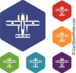 Ski equipped airplane icons set rhombus in different colors...